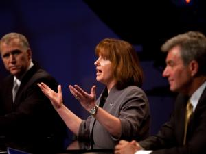 House Speaker Thom Tillis, Wilkesboro nurse Heather Grant and Dr. Greg Brannon of Cary (left to right) participate in an April 23, 2014, debate among leading Republican candidates for U.S. Senate.