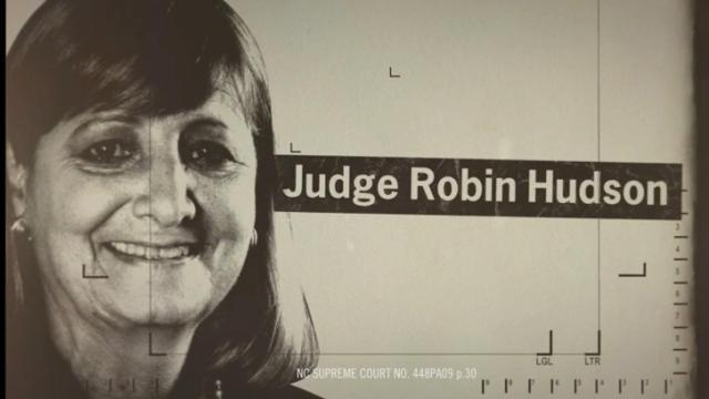 This is a still image from the Justice for All NC ad attacking Supreme Court Justice Robin Hudson.