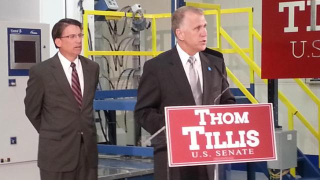 Gov. Pat McCrory endorsed GOP Senate primary candidate Thom Tillis at an April 29, 2014, campaign event in Raleigh.