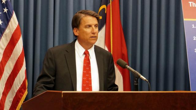 Gov. Pat McCrory discusses his proposed 2014 state budget during a May 14, 2014, news conference.