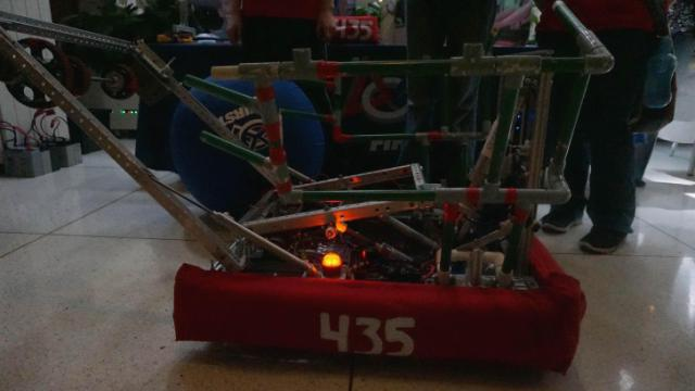Two Raleigh-area teams in the N.C. FIRST Robotics competition, a program that fosters K-12 students' interest in science and technology, showed off their mechanical creations in the Legislative Building on May 20, 2014.