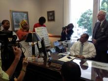 Sit-in ensues after Tillis declines to meet protesters