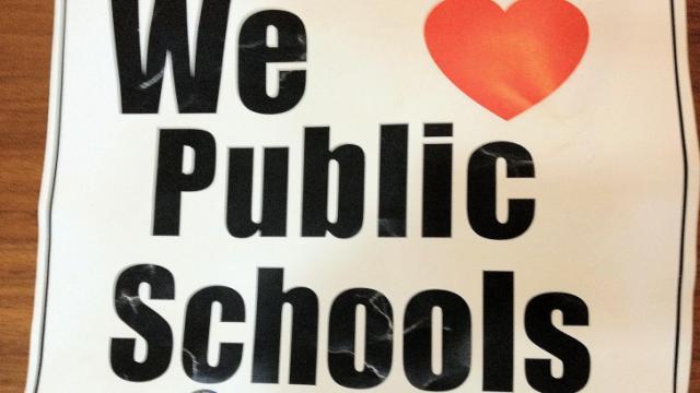 Teacher protest sign