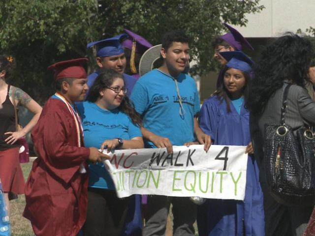 Five undocumented students walked from Charlotte to Raleigh this month to call attention to their quest for in-state tuition eligibility.<br/>Photographer: Bill Herrero