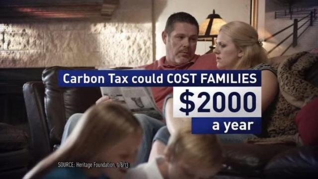 This is a still image from an ad by the American Energy Alliance attacking Sen. Kay Hagan, D-N.C., for supporting a carbon tax.