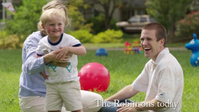 This is a still image from an ad by Carolina Rising praising state House Speaker Thom Tillis' work on autism during the 2014 election.