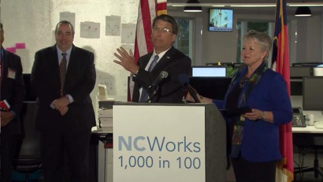 Gov. Pat McCrory and Commerce Secretary Sharon Decker launch a workforce development effort on Sept. 25, 2014.