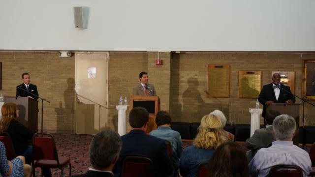 Democrat Jonathan Barfield, Libertarian Wesley Casteen and Republican David Rouzer debate in Smithfield.