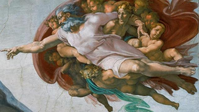 "This is an image of God as shown in ""Creation of Adam,"" a fresco painting by Michelangelo, which forms part of the Sistine Chapel's ceiling."