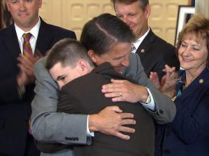 Gov McCrory hugs victim