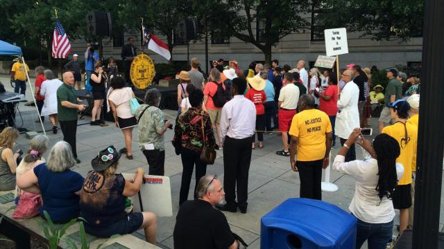 "Members of the ""Moral Monday"" protest movement gather outside the Legislative Building on May 27, 2015."
