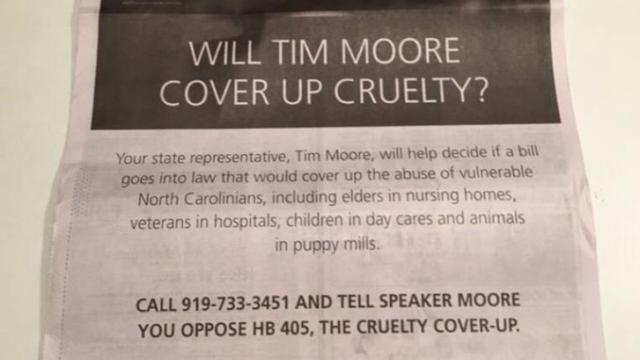 Full-page Humane Society ad targeting House Speaker Tim Moore, June 3, 2015