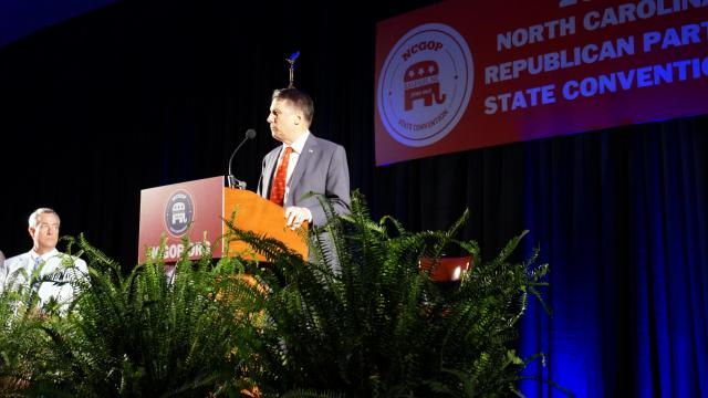 Gov. Pat McCrory gives an afternoon speach at the 2015 NC Republican Party state convetion in Raleigh on June 6.