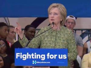 Democratic presidential candidate Hillary Clinton speaks at Hillside High School in Durham on March 10, 2016.