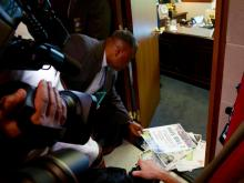 Rodney Sadler, a professor at Union Presbyterian Seminary in Charlotte, was among dozens of protesters to leave fliers protesting House Bill 2 at the doorstep of House Speaker Tim Moore's office during an April 25, 2016, sit-in.