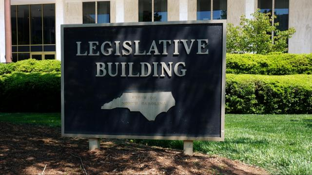 This is the sign in front of the North Carolina legislative building.
