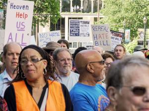 """The """"Moral Monday"""" movement staged a rally against House Bill 2 on the mall across from the Legislative Building on May 16, 2016."""