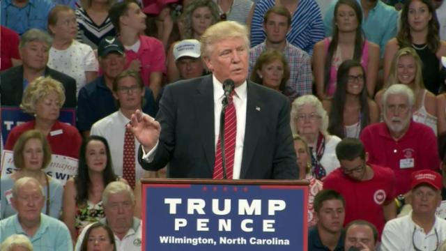 Republican presidential nominee Donald Trump holds an Aug. 9, 2016, campaign rally in Wilmington.