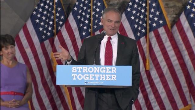 Democratic vice presidential nominee Tim Kaine holds an Aug. 16, 2016, rally at Cape Fear Botanical Garden in Fayetteville.