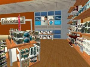 Online goes 3-D. Brookstone's new 3-D virtual store, powered by Kinset technology, makes shopping online more realistic and interactive than ever. (PRNewsFoto/Brookstone, Inc.)