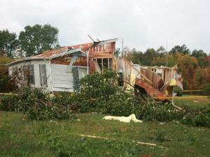 Pictures of a destroyed house in Roxboro