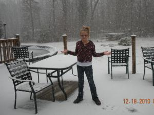 Madison in the snow in Efland NC