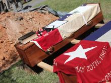 Construction workers in Raleigh unearthed the remains of Civil War-era brothers Joseph and Joel Holleman, who both died in 1862. The brothers were reburied in Oakwood Cemetery on Saturday, April 14, 2012.