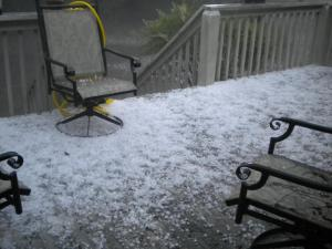 Hail on a Pinehurst porch made May look like December on Wednesday afternoon.