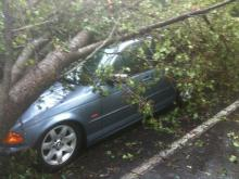 Storms packing winds of greater than 60 mph blew through the Triangle Tuesday.