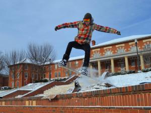 I'm a student at NC State and we had all classes canceled today. Therefore I took the liberty of going out this morning and saw a student snowboarding in the Court of Carolina's.