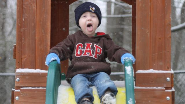 Ryley Hammond didn't waste anytime enjoying the snow.