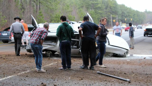 An SUV crashed on Gorman Road near Interstate 40 in Raleigh on Feb. 21, 2014. (Photo courtesy of Travis Scovell)