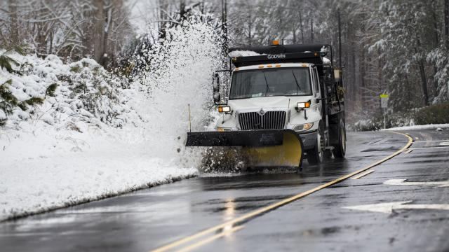 Cleaning roads in Wake Forest, morning 2/27/12