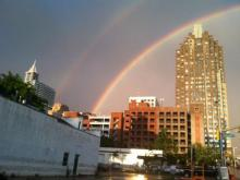 After downpours and hail pummeled the Triangle Thursday, April 30, 2015, rainbows signaled the return of the sun.