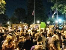Traffic was rerouted in Thursday evening in downtown Raleigh near the governor's mansion while protesters demonstrate in response the new state discrimination law.