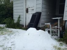 Hail fell in parts of the Triangle Thursday morning as another round of spring thunderstorms rolled through.