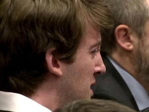 Jason Williford cries on June 7, 2012, as Kathy Taft's daughter, Jessica Gorall, describes the pain her family as endured as a result of the attack that took Taft's life on March 9, 2010.