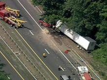 Sky 5 coverage of tractor-trailer wreck on I-85