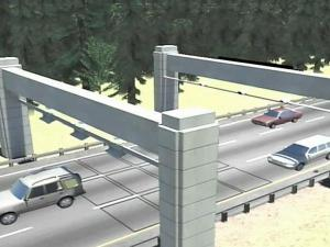 Overhead electronic gantries would collect data from vehicles' transponders to charge tolls on the proposed Triangle Expressway.