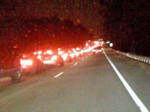 Traffic backed up on Interstate 40 after a five-vehicle wreck near Wade Avenue Monday, Jan. 26, 2009.