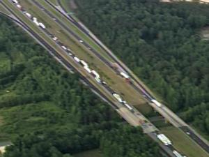 Traffic backed up for miles Tuesday afternoon along Interstate 95 in Cumberland County