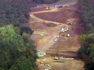 Crews work on the Triangle Parkway on Oct. 7, 2009.