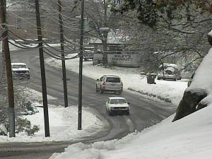 Snowfall in northern Roxboro, N.C.