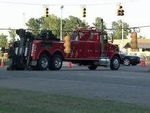 A wreck that knocked down power lines Saturday afternoon, Sept. 4, 2010, is causing traffic delays along Capital Boulevard in Wake Forest.