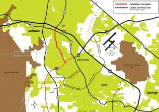 The first toll road to open in western Wake County is a stretch between NC 147 and I-540.