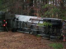 A tractor-trailer carrying liquid nitrogen overturned at U.S. Route 64 and N.C. Highway 231 in Nash County Saturday morning, authorities said.