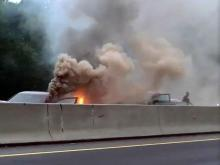An accident that caused one vehicle to erupt in flames closed eastbound I-40 in Durham on Oct. 1, 2012. (Photo courtesy of Brandlyn Bryant)