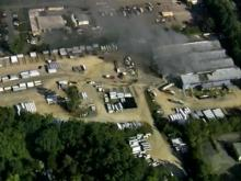 Fire burns west Raleigh construction plant