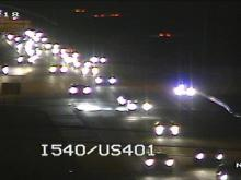 Traffic cam: Crash closes I-540 East at U.S. 401