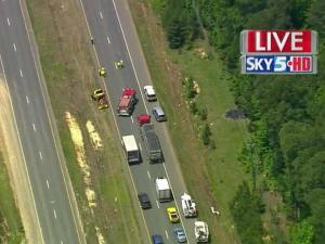 U.S. Highway 64 West was closed Tuesday afternoon because of downed power lines.